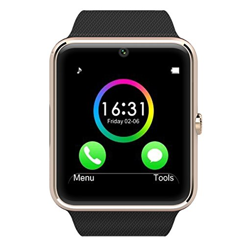 Otium One Bluetooth Smart Watch with NFC Cell Phone Watch Phone Mate For Android (Full functions) Samsung S3S4S5Note 2Note 3Note 4 HTC Sony LG and iPhone 55C5S66 Plus (Partial functions) (Gold Frame)