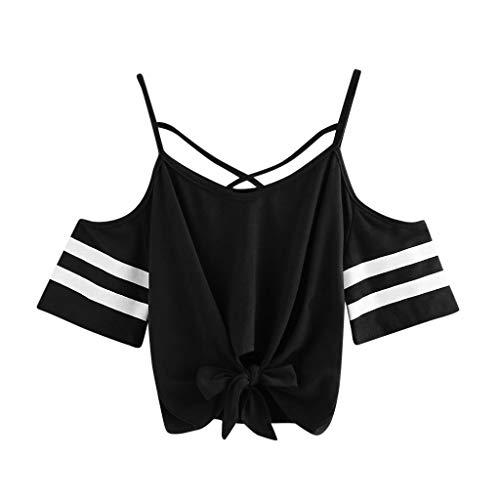 - TUSANG Women Tees Summer Casual Cold Shoulder Short Sleeve V Neck T-Shirt Tops Blouse Slim Fit Short Tunic(C-Black,US-12/CN-2XL)