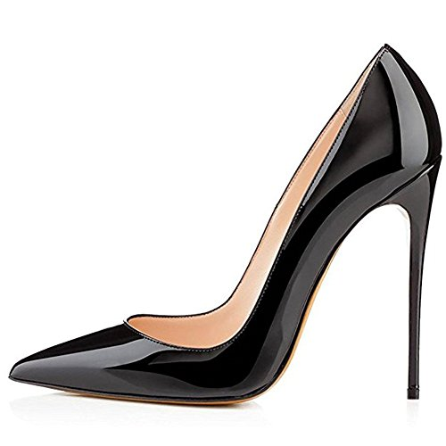Kmeioo Pointed Toe High Heel Slip On Stiletto Pumps Evening Party Basic Shoes, Black, Size 8.5