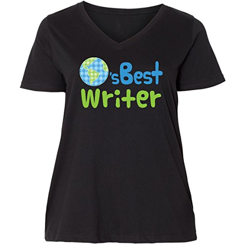 inktastic Worlds Best Writer Ladies Curvy V-Neck Tee 2 (18/20) Black 19bc7 (Best Writer Worlds)