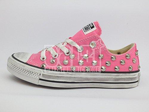 Converse all star Borchie OX basse Rosa Pink (prodotto artigianale )