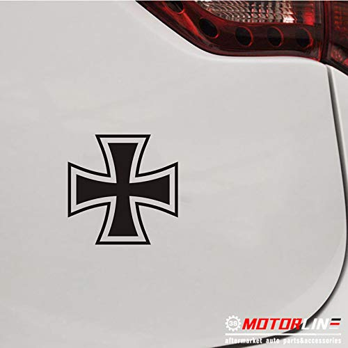 Iron Cross Decal - 3S MOTORLINE (2) 4'' Iron Cross Decal Sticker Car Vinyl Black German Germany no bkgrd