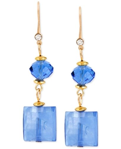 M. Haskell Gold-Tone Blue Crystal Double Drop Earrings
