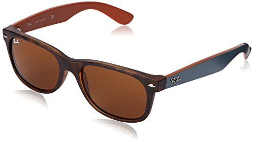 - Ray-Ban RB2132 New Wayfarer Sunglasses, Matte Tortoise/Brown, 55 mm