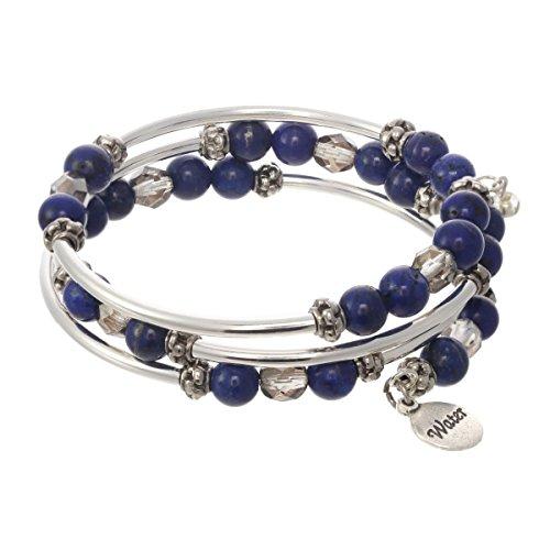 (Elements Triple Coil Metal & Gemstone Bracelet (Water Element))