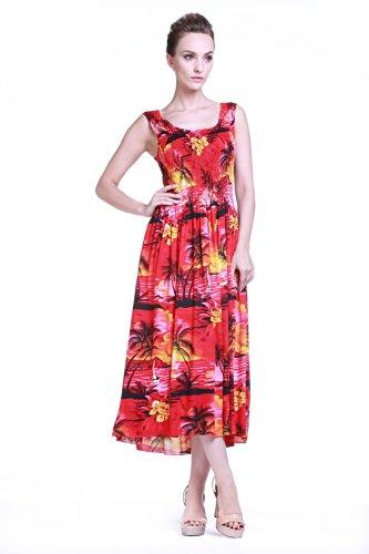 Women's Hawaiian Maxi Tank Elastic Luau Plus Size Dress Sunset Red