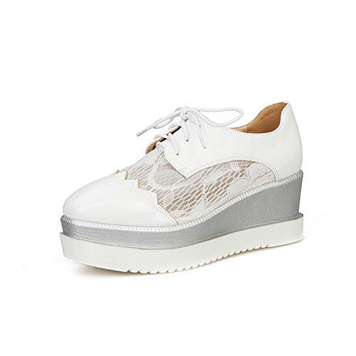 Talon Agoolar Couleur Carré Chaussures À Lacet Correct Légeres Blanc Femme Matière Unie Mélangee pYqpwr