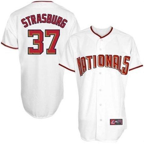 VF Stephen Strasburg Majestic Home White Replica #37 Washington Nationals Jersey (3XL)