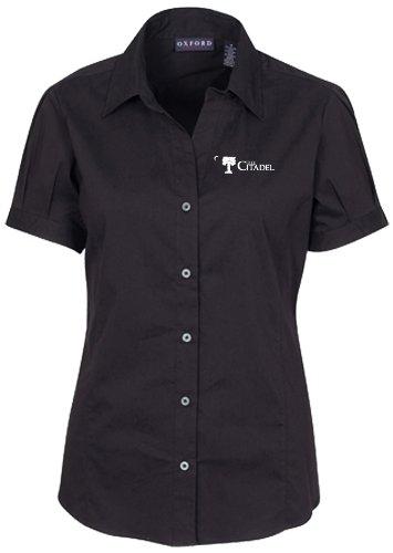 NCAA Citadel Bulldogs Women's Solid Cap Sleeve Button Front Blouse, Black, Small