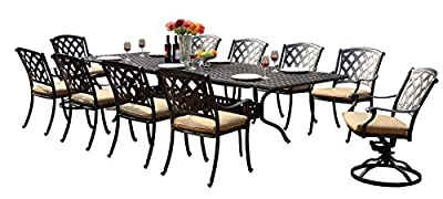 """Darlee 201630-11PC-30LE Ocean View Cast Aluminum 11 Piece Rectangle Extension Dining Set and Seat Cushions, 42"""" by 92""""/42"""" by 120"""""""