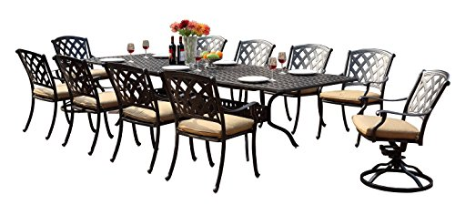 Darlee 201630-11PC-30LE Ocean View Cast Aluminum 11 Piece Rectangle Extension Dining Set and Seat Cushions, 42 by 92 42 by 120