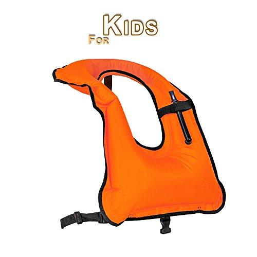 Faxpot Children Snorkel Vest Boys & Girls Inflatable Snorkeling Jacket for Diving Swimming Safety (Orange)