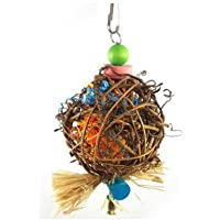 Parrot Rattan Ball Cage Toy - HapaAU Parrot Chewing BiteToys for Medium Small Bird Toy African Grey ,Macaws Cockatoos,Conure Cockatiel,Aviary