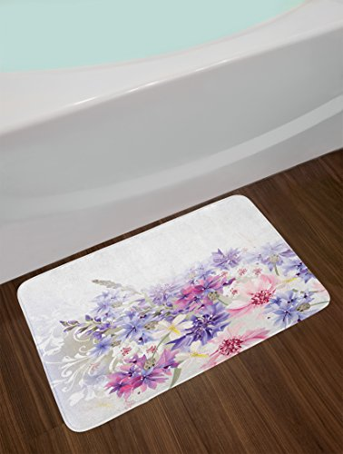 80%OFF Ambesonne Lavender Bath Mat, Pastel Cornflowers Bridal Classic Design Gentle Floral Wedding Design Print, Plush Bathroom Decor Mat with Non Slip Backing, 29.5 W X 17.5 W Inches, Violet Pink White
