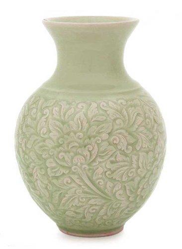 Amazon Novica Light Green Floral Celadon Ceramic Vase Jade