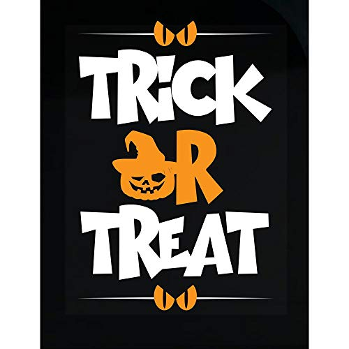 worlddesignsclub Trick or Treat Halloween Funny Pumpkin Gift - Transparent Sticker ()