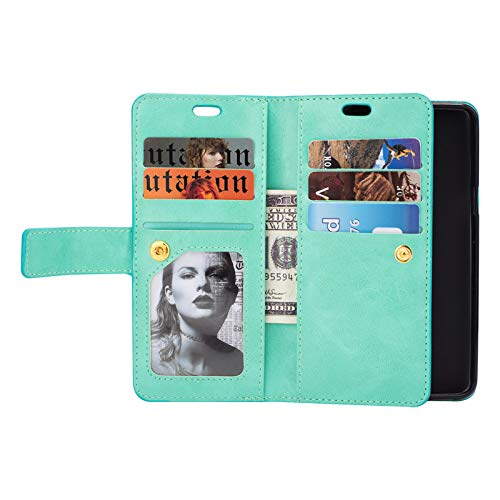 Samsung S9 Plus Leather Case ,Zipper Cover with kickstand Card Slots Wrist Band Multifunctionl Wallet Flip Folio Shell for Samsung S9 Plus(Green)Boens