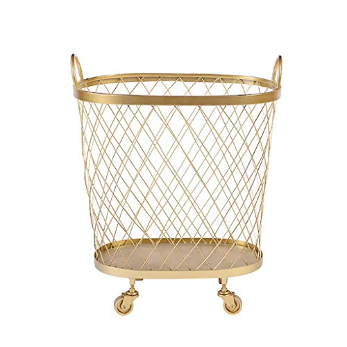 4 Wheels Iron Standing Laundry Basket Laundry Collector Bathroom Laundry Hampers Trolley Bins Laundry Container (Color : Gold)
