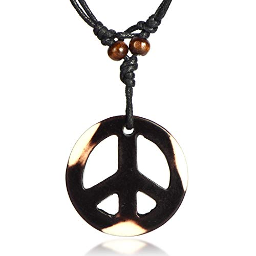 Handmade Adjustable Love Peace Sign Hippie Pendant Necklace Vintage Rope Chain Resin Weave Jewelry-Multicolor ()
