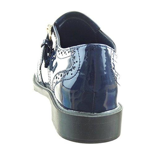 Sopily - Scarpe da Moda Mocassini ballerina alla caviglia donna perforato fibbia verniciato Tacco a blocco 3 CM - Blu