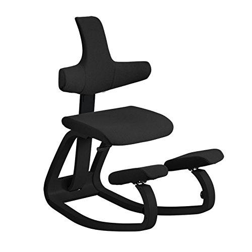 Thatsit Balans Ergonomischer Stuhl von Varier – Schwarz Lackiert Esche Struktur, Schwarzer Stoff Sitz