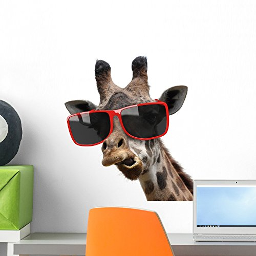 Giraffe Hipster Sunglasses Wall Decal by Wallmonkeys Peel and Stick Graphic (18 in W x 17 in H) - Sunglasses Locations Shades