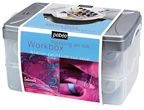 PEBEO Setasilk Silk Painting Atelier Collection Set, 10 Assorted 45-Milliliter Colors and Accessories ()