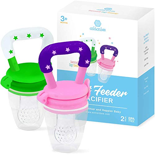 Baby Fruit Feeder Pacifier (2 Pack) - Fresh Food Feeder, Infant Fruit Teething Toy, Silicone Pouches for Toddlers & Kids by Ashtonbee ()