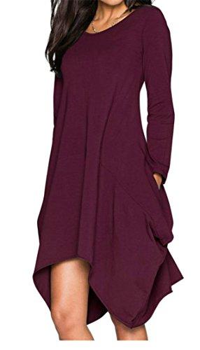 Pleated Purple Pocket Womens Irregular Loose Dresses Swing Crewneck Long Cromoncent Sleeve xPBqUOZw