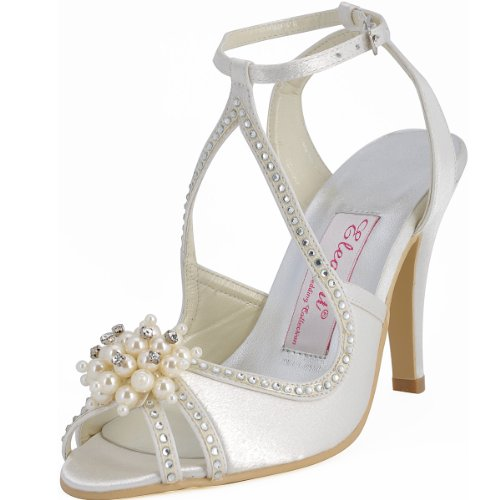 (ElegantPark EP11058 Women High Heel Pumps Peep Toe Pearls Straps Bridal Wedding Sandals Ivory US 8)