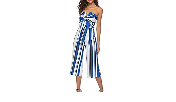 YKeen Womens Bow-Knot Strapless with Tie-Belt Cold Shoulder Empire Waist Siamese Trousers