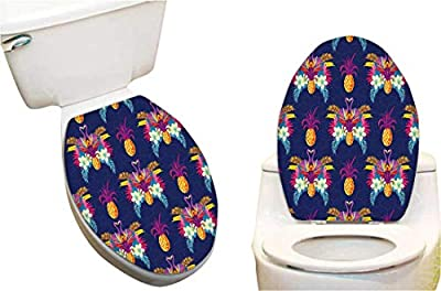 Toilet Seat Decal Vivid Tropical Seamless Pattern of Flamingos Flowers and Pineapples Print Toilet Vinyl Decal