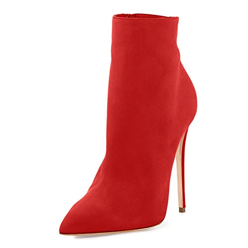 UMEXI Pointed Toe Ankle Strap Boots Stiletto High Heels Side Zipper Party Dress Shoes for Wedding Red