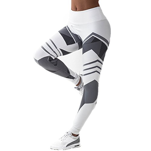FITTOO Women's High Waisted Geometric Yoga Pants Geometry Print Leggings Workout Sports Trousers White M