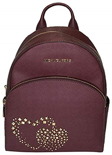 Michael Kors Abbey Studded Double Hearts Medium Leather Backpack in Merlot