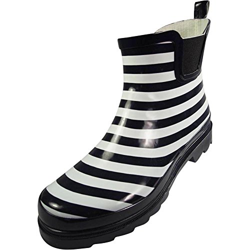 NORTY Womens Ankle High Striped Rain Boot, Navy, White 39724-9B(M) US (Striped Booties)