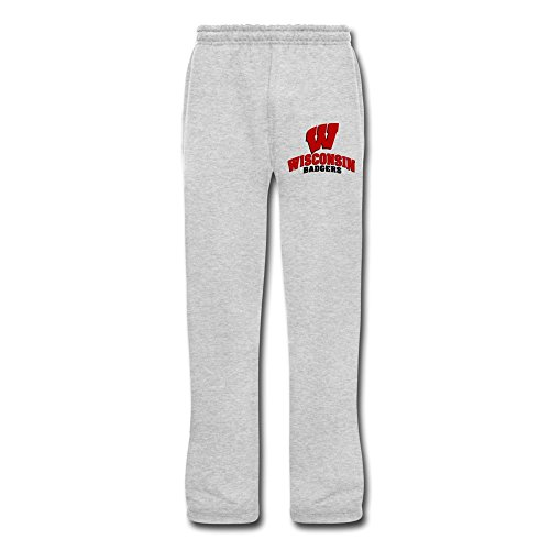 YhulaW Ash Wisconsin Badgers Men's Sports Sweat Pants for Adult Size XXL (one Size Small)