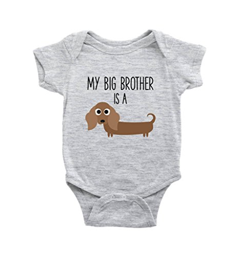 My Big Brother - Sister is A Dachshund Weiner Dog Baby Bodysuit, Funny Dog Lover Baby Clothes, Baby Boy, Baby Girl Clothes, (New Born) Grey