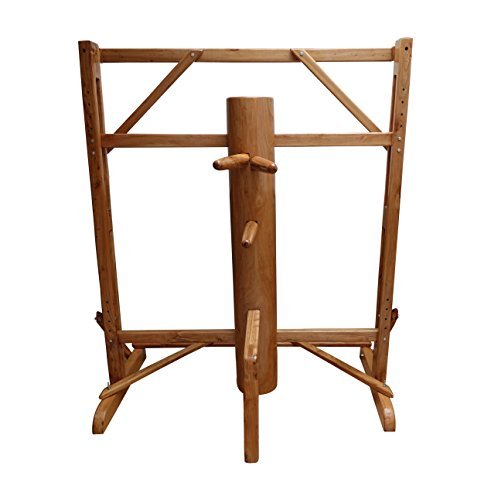Adjustable Frame Wing Chun Wooden Dummy Brown Color Solid Piece of Wooden dummy for sale WCM005 ()