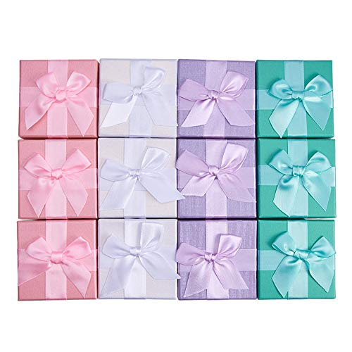 (BENECREAT 12 Pack Gift Boxes Jewelry Display Box Jewelry Set for Anniversaries, Weddings, Birthdays, 4 Assorted Color - 2.83 x 2.83 x 2)