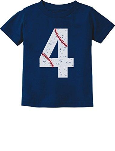 TeeStars - Baseball 4th Birthday Gift for Four Year Old Toddler Kids T-Shirt 4T Navy