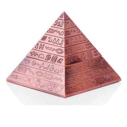 Viet-GT European Artwork - Creative Fashion Decoration Classic Vintage Egyptian Metal Carved Pyramid with Lid Ashtray Home Decoration Gift R437 1 Pcs - Egypt God Statue