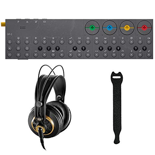 Teenage Engineering OP-Z Synthesizer and Multimedia Sequencer with AKG K 240 Studio Pro Headphones & Fastener Straps (10-Pack) Bundle