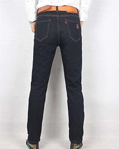 Fleece Denim Casual Nero Fit Slim Pantaloni Jeans Stretch Faux Uomo Lining Da Abbigliamento Skinny UZnwBq0