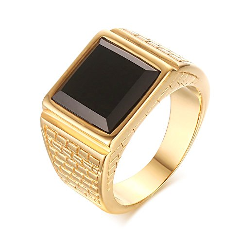 CARTER PAUL Mens Stainless Steel Black Onyx Gold Ring Europe and America Style, Size 7