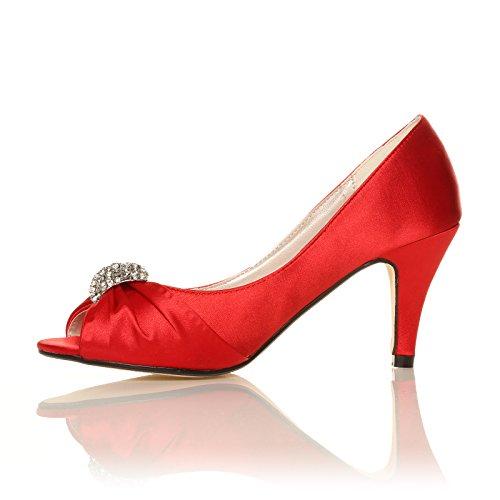 Damen Hochzeit Brautschuhe Brautjungfer niedriger Absatz, Schuhe Größe 34
