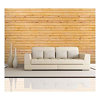 Horizontal Yellow Wood Textured Paneling Wall Mural Removable...