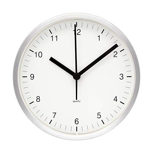 (COMODO CASA Wall & Desk Clock- Metal Silver Frame-Glass Cover-Non Ticking-Quartz Sweep-Silent 6 inch Retro Clock,White#J1)