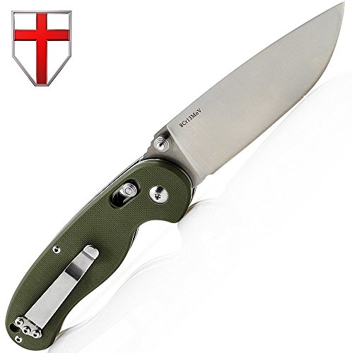 Pocket Knife Grand Way S-27 Folding Knife with Military Green G-10 Handle - Good for Camping, Survival, Outdoor and Indoor activities