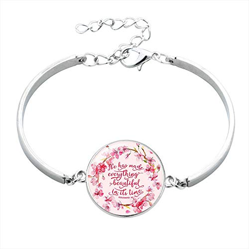 (Tuoke Fashion Bible Verse Bracelet Christian Brave Scripture Inspirational Adjustable Bangle Bracelet Handmade Glass Silver Plated Jewelry for Women Faith Gifts (Pink Ecclesiastes 10) )